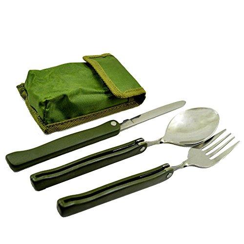 Tenlacum Plein air randonnée Camping Pique-Nique Vaisselle Portable de Voyage la Valeur écologique INOX cuillère Fourchette Couteau avec boîte de Rangement (QB-179)