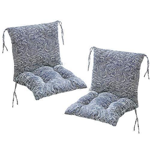 Deike Mild 2 cojines para silla con respaldo de asiento, cojines para respaldo con cintas, respaldo bajo, tapicería para silla de jardín, P, 40 x 40cm