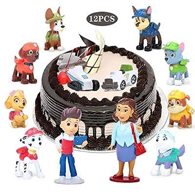 Yisscen Paw Dog Patrol Cake Topper, Mini Juego de Figuras, 12 piezas Cupcake Topper, Suministros de decoración de tartas, Juego de tartas de fiesta, utilizado para decoraciones de tartas de cumpleaños de Yisscen