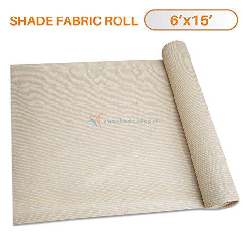 SONNENSCHIRME Depot 6'x 1' Schatten Tuch beige Stoff Rolle 75% Blockade UV-beständig Mesh Net
