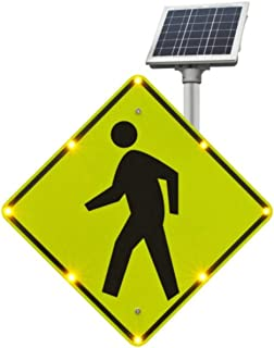 Tapco W11-2 BlinkerSign Diamond Solar Pedestrian Crossing Sign with 8 Fluorescent Yellow Green Flashing LEDs, 30