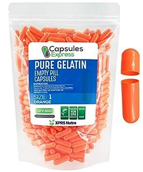 XPRS Nutra- Size 1 Orange Empty Gelatin Capsules - Kosher - Pure Gelatin Pill Capsule - DIY Supplement Filling  500