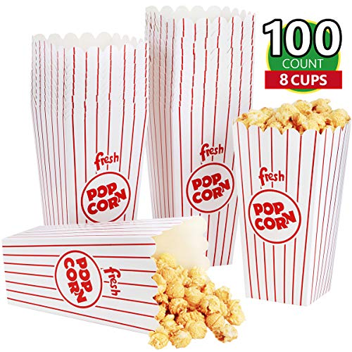 Eupako Popcorn Boxes 100 Pack 7.75 Inch Open-Top Paper Popcorn Box Great for Movie Night or Movie Party Theme, Theater Themed Decorations or Carnival Party Circus Box etc.
