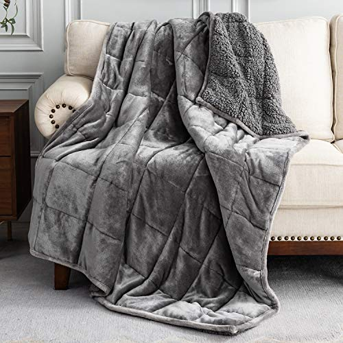Uttermara Sherpa Fleece Weighted Blanket 15 lbs for Adult, Unicolor Ultra-Soft Fleece and Sherpa, Dual Sided Cozy Plush Blanket for Sofa Bed, 48 x 72 inches, Grey