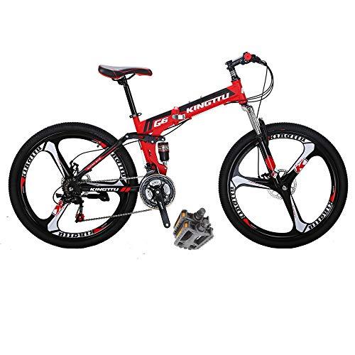 Folding Bikes HYG6 26 Inch 3 Spoke Wheels 21 Speed Mountain Bike Dual Suspension Bicycle Red