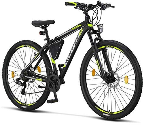 Licorne - Mountain bike Premium per bambini, bambine, uomini e donne, con cambio Shimano a 21 marce, Bambina, nero/lime (2 freni a disco)., 29 inches