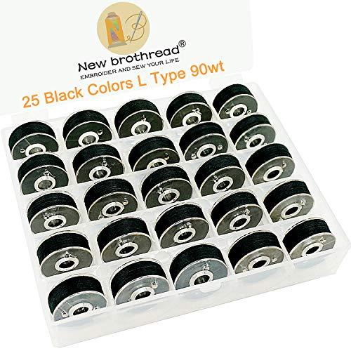 New brothread 25pcs Tipo L Tamaño (SA155) Negro hilo de la canilla preenrollado Lado de plástico para máquinas de bordar y coser especificadas - 90wt