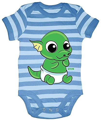 Hariz Baby Body a rayas Baby Drache pft de huevo Animales Zoo Incluye tarjeta de regalo azul marino...