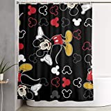 Funny Fabric Shower Curtain Mickey Mouse Black Waterproof Bathroom Decor with Hooks 60 X 72 Inch New Year 2021
