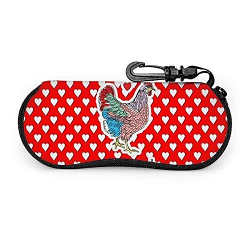 wusond Gafas de sol rojas con forma de corazón de lunares con hebilla de bloqueo Bolsa suave Estuche para gafas con cremallera de tela de buceo ultraligero