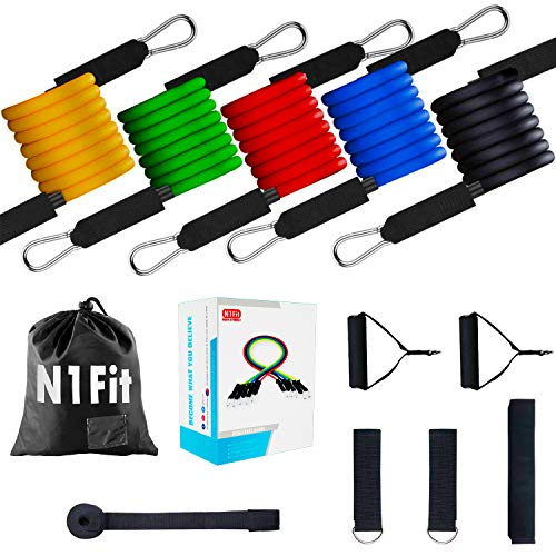 N1Fit Resistance Bands Set - 11pcs Exercise Bands with Door Anchor, Ankle Straps and Handles - Workout Bands Stackable - Resistance Bands for Home Workouts, Yoga, Pilates and Physical Therapy