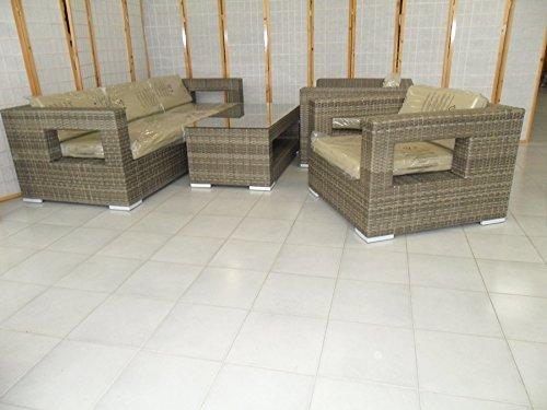 Divano con Poltrone e Tavolino/Salotto/Salottino in Polyrattan per Esterno/Arredo Giardino - Mod. Dubai bianco