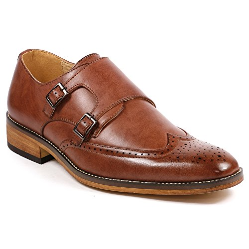 UV Signature UVS42 Men's Double Monk Strap Wing Tip Perforated Slip On Loafers Dress Shoes (10.5, Brown)