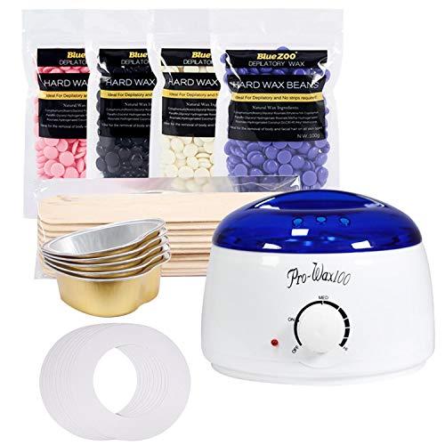 Kit Epilation 1pcs Wax Warmer + 4 Packs de haricots à la cire + 10pcs Bâtons de fartage + 5pcs Bols + 10pcs Colliers de Protection pour Hommes Femmes Plug UE