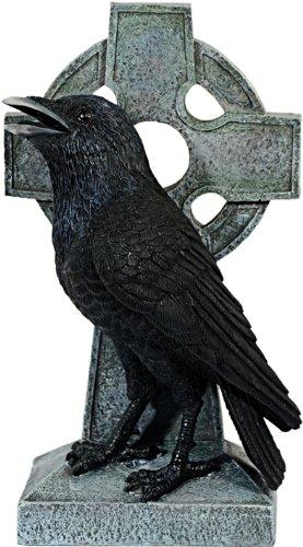 Dekofigur Rabe vor Keltischem Kreuz Gothic Dekoration Sammeln Deko NEU OVP