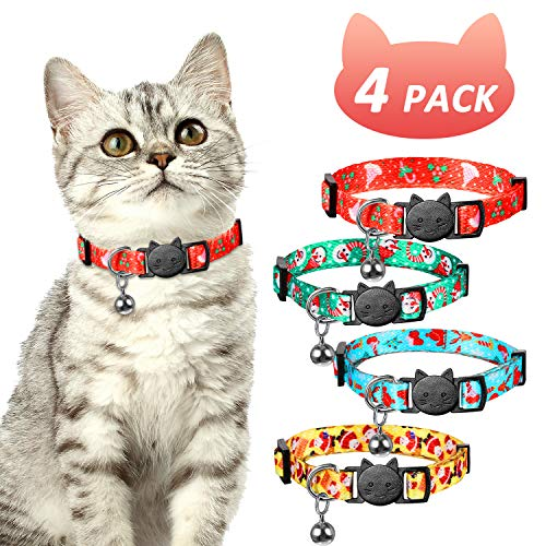 Frienda 4 Pieces Christmas Cat Collars with Bell Adjustable Breakaway Cat Collars Holiday Kitten Decoration for Christmas Party Cat Accessories