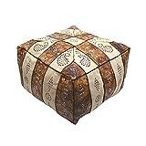 Puff, Pouf, reposapies o Asiento de Cuero de Forma Cuadrada, Mide 42x42x28 cm Aproximadamente. Modelo marroquí, Egipcio Hecho a Mano, Color marrón y Beige.