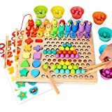 Wooden Peg Board Number Puzzle Montessori Toy Magnetic Fishing Game for Toddlers - Bead Counting Shape Sorter Game for Age 3 4 5 Years old Kids - Preschool Education Math Stacking Block Learning