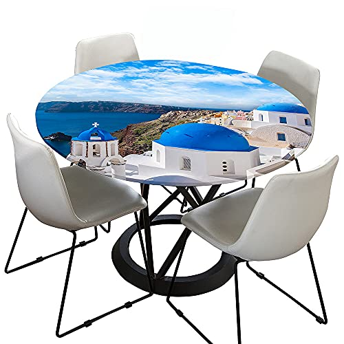 Mantel Antimanchas Redondo,Chickwin Impresión de Paisaje Urbano en 3D Mantel de Mesa Impermeable Diseño de Borde Elástico,Mantel Redondo para Comedor,Cocina y Picnic (Oceano,150cm)