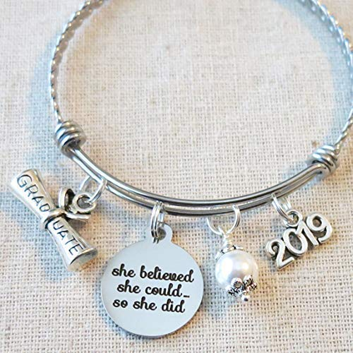 She Believed She Could So She Did Inspirational Bracelet