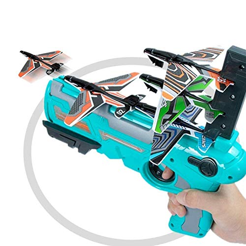 ZURITI Avión De Juguete Bubble Catapult Plane, Avión De Espuma Modelo De Eyección con Un Clic, con Lanzador De Avión Planeador De 4 Piezas, Juguete Deportivo Al Aire Libre para NiñOs Blue