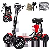 SSCJ Scooter portátil de Movilidad de Viaje, Bota de Viaje, Scooter de 4 Ruedas Scooter portátil de Movilidad, 10AH, baterías, Rango de Crucero 30 km,Red