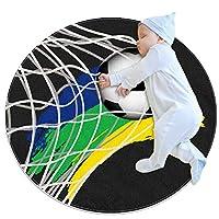 エリアラグ軽量 サッカーネット フロアマットソフトカーペット直径27.6インチホームリビングダイニングルームベッドルーム