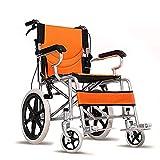 Sillas de ruedas autopropulsadas Ligero, plegable, portátil, silla de transporte, freno de mano, asiento transpirable, servicio pesado, 220 lb, tipo swing (naranja)