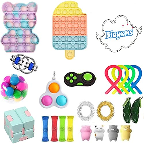 30pcs Fidget Toys Sensory Fidget Toys Set Fidget Toys Anti-Anxiety Tools and Special Toys Fidget Toys Relieves Stress Squeeze Toy for Birthday Party Random Color (B1, OneSize)