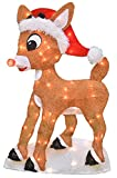 ProductWorks 70506 Pre-Lit Red-Nosed Reindeer in Santa Hat Christmas Holiday Yard Art Decoration, 24 Inch Rudolph Wrapped in Lights