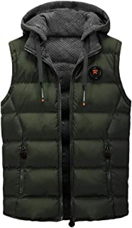 Men Quilted Padded Hoodie Vest Coats Down Jacket Winter Gilet Sleeveless