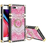 XNMOA for iPhone 8 Plus Glitter Case for Women Girls Kickstand Ring Holder Rainbow Sparkle Bling Square Case Slim Durable Shockproof Bumper Hard Anti-Slip Back Protective for iPhone 7 Plus/8 Plus Pink