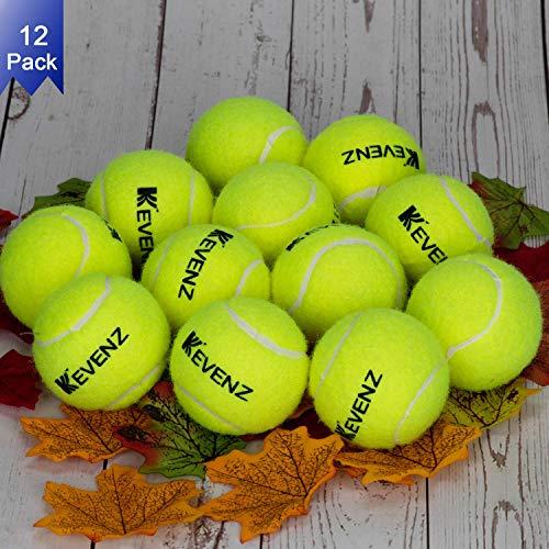 KEVENZ 12-Pack Green Advanced Training Tennis Balls,Practice Ball (Interlocked Wool Fiber)