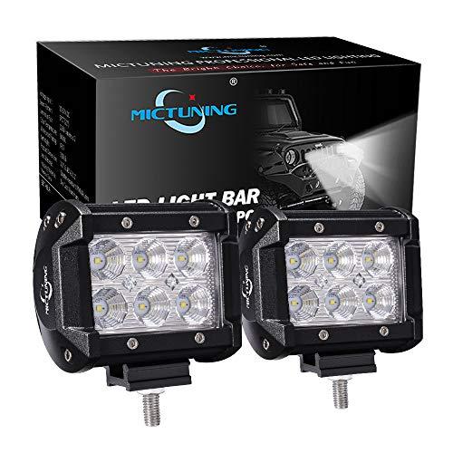"""MICTUNING 2pcs 4"""" 18W Projecteur Phare de Travail Feux Antibrouillard LED Flood LED CREE 4X4 pour Camion, Off Road, 4x4, SUV, UTV, VTT, Bateau, Moissonneuse,etc."""