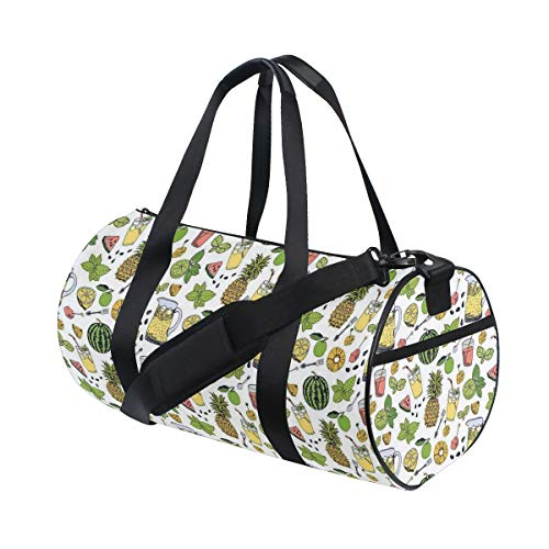 ZOMOY Gym Bag,Summer Holiday Pattern With Fruits Cocktails Refreshments Juice Drinks,New Canvas Print Bucket Sports Bag Fitness Bags Travel Duffel Luggage Canvas Handbag