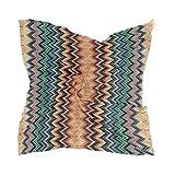 LZXO - Pañuelo para mujer, diseño geométrico, zigzag, pañuelo para la cabeza, pañuelo ligero, diadema con 10 pasadores de espiral, 60 x 60 cm