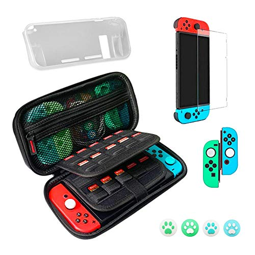 Carrying Case for Nintendo Switch, Nintendo Switch Travel Case, carrying bag Accessories 9 in 1 Bundle - Carrying Bag, Protective Storage Case, Screen Protector, Joy-Con Cap