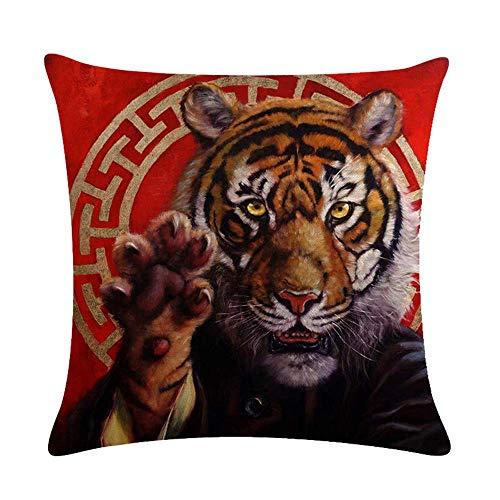 IUBBKI Fundas de Almohada 18x18 Pulgadas, Funda de Almohada de Lino de algodón Rojo de Tigre del Zodiaco Chino, Fundas de cojín para decoración del hogar