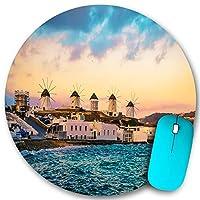 PATINISA ラウンドマウスパッド、風車のあるミコノス海岸の夕日の眺め、PC ノートパソコン オフィス用 円形 デスクマット、ズされたゲーミングマウスパッド 滑り止め 耐久性が 200mmx200mm