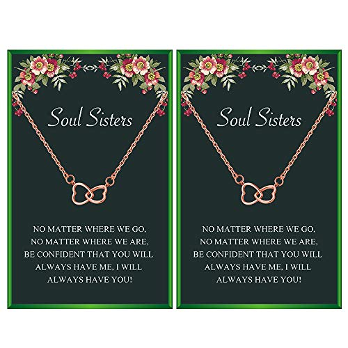 Your Always Charm Best Friend Necklace for 2 Soul Sisters Best Friend Birthday Gift(Rose Gold Set)