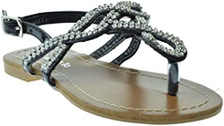 Link Adriel 11K Rhinestone Embellished Thong Sandal White