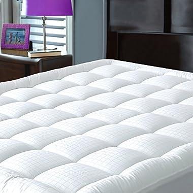 Pillowtop Mattress Pad Cover Queen Size - Hypoallergenic - Cotton Down Alternative Filled Mattress Topper