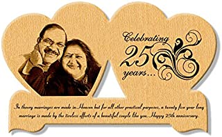 Incredible Gifts India 25th Wedding Anniversary Gift - Personalized Wooden Engraved Photo in Heart