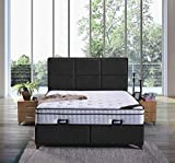 Cama canapé Madrid con canapé de tela, cama doble de 200 x 200 cm, color negro
