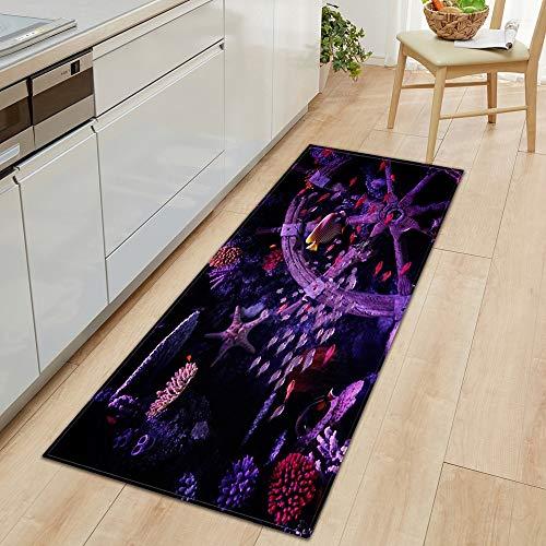 OPLJ 3D Underwater World Küchenmatte Eingang Fußmatte Schlafzimmer Bodendekoration Wohnzimmer Teppich rutschfeste Fußmatte A24 50x160cm