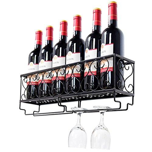 COSTWAY Weinregal mit Weinglashalter Flaschenregal Flaschenständer Hängeweinregal Wandregal Weinflaschenhalter Dekoregal zur Wandmontage Metall