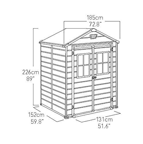 Keter Scala Outdoor Plastic Garden Storage Shed, Brown, 6 x 5 ft Garden Storage & Housing