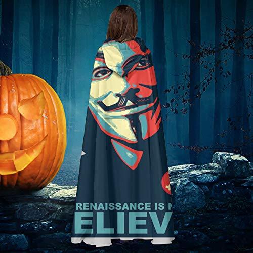 AISFGBJ Anonymous Renaissance V For Vendetta Believe Bitcoin Unisex Navidad Halloween Bruja Caballo con capucha Cabo Vampiros Disfraz Cosplay