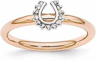 Rose Gold Tone Sterling Silver .07 Ctw Diamond 7mm Horseshoe Ring (I3 Clarity, H-I Color)