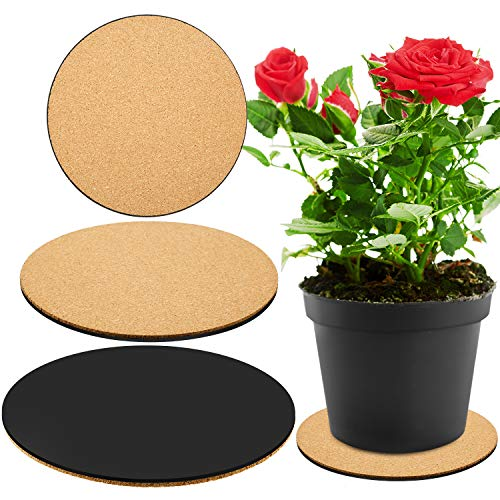 3 Pieces Cork Plant Mat Round Cork Plant Coasters DIY Cork Pad Plant Plate Pad for Gardening, Indoor and Outdoor Pots, DIY Craft Project (8 Inches)